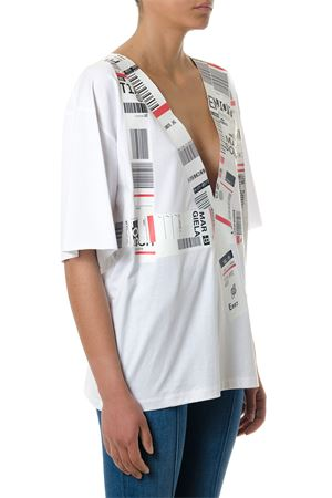 WHITE COTTON BLOUSE WITH BARCODES PRINT SS 2018 MAISON MARGIELA | 13 | S29GC0211S22816100