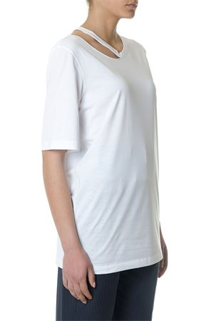 WHITE CUT OUT ASYMMETRIC COTTON 