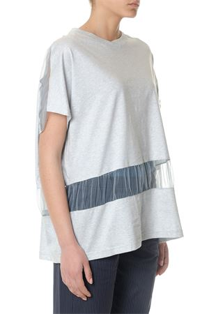GREY COTTON OVERSIZED T-SHIRT WITH TULLE INSERT SS 2018 MAISON MARGIELA | 15 | S51GC0400S22155500M
