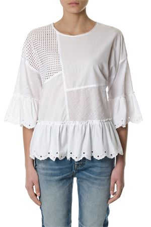 WHITE COTTON LACE BLOUSE SS 2018 McQ ALEXANDER MCQUEEN | 13 | 490882RKC049013