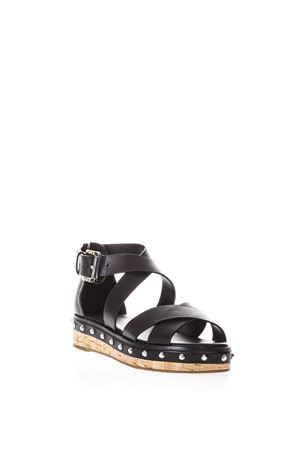 DARBY BLACK CROSSED LEATHER SANDALS SS 2018 MICHAEL MICHAEL KORS | 87 | 40S8DBFA1LBELLA001