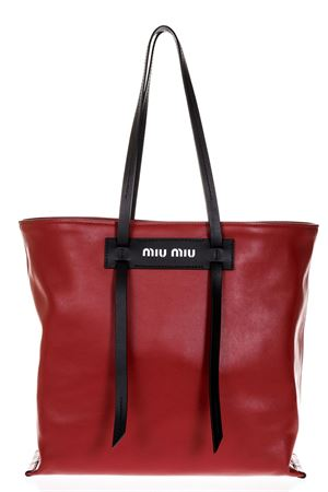 LEATHER SHOPPER BAG WITH LOGO COLOR FLAME & BLACK SS 2018 MIU MIU | 2 | 5BG1162BYAF0C9F