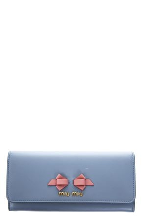 SKY LEATHER CONTINENTAL WALLET WITH BOW DETAIL SS 2018 MIU MIU | 34 | 5MH109UEIF0406