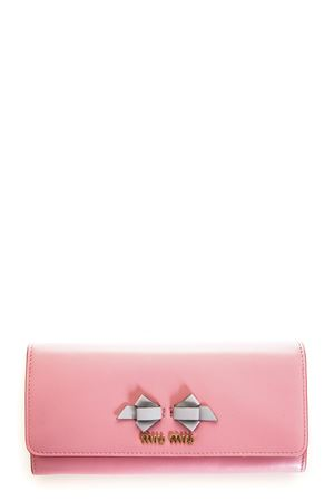 PINK LEATHER CONTINENTAL WALLET WITH BOW DETAIL SS 2018 MIU MIU | 34 | 5MH109UEIF0SXY