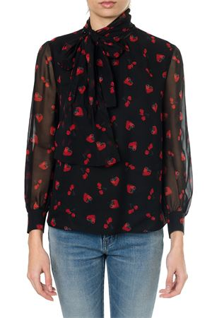 BLACK GEORGETTE BLOUSE WITH STRAWBERRY PRINT SS18 MIU MIU | 9 | MK12591QBCF0002