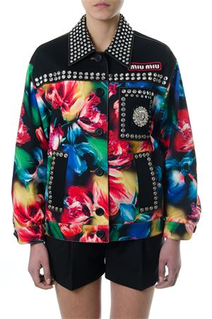 BLACK COTTON FLORAL PRINT BOMBER JACKET PE 2018 MIU MIU | 27 | ML4821QXJF0002
