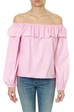PINK STRIPES COTTON OFF THE SHOULDERS BLOUSE SS18 MIU MIU | 13 | MT1360EN2F0028