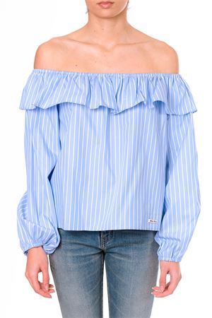 BLUE STRIPES COTTON OFF THE SHOULDERS BLOUSE SS18 MIU MIU | 13 | MT1360EN2F0076