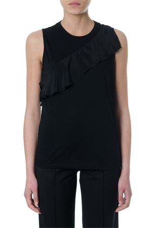 BLACK SILK TOP WITH RUFFLE SS 2018 PROENZA SCHOULER | 13 | R182488RUFFIE00200