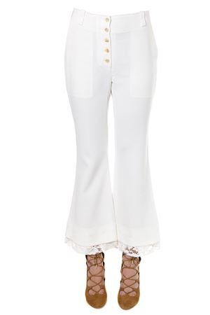 WHITE FLARED AND CROPPED PANTS SS 2018 PROENZA SCHOULER | 8 | R182631FLARED00101