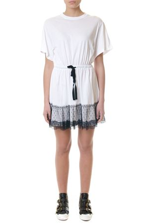 WHITE LACE HEM T-SHIRT DRESS IN JERSEY SS 2018 RED VALENTINO | 32 | PR3MJ06V3LHUNIA01