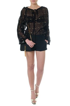 EMBROIDERED BLACK SILK BLOUSE SS 2018 SAINT LAURENT | 9 | 498625Y533S1055