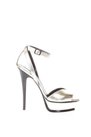 SANDALI TRIBUTE 105 OPEN-TOE 135MM IN PELLE PLATINO PE 2018 SAINT LAURENT | 87 | 5029570PS007100