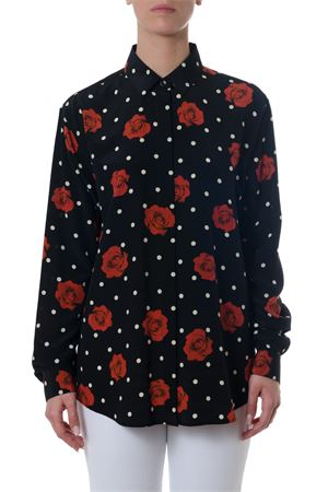 BLACK SILK SHIRT WITH ROSES AND PODKA DOTS PATTERN SS 2018 SAINT LAURENT | 9 | 512192Y383S1085