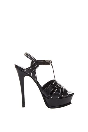 TRIBUTE BLACK SANDALS IN LEATHER WITH STUDS INSERTS SS 2018 SAINT LAURENT | 87 | 515636BDANN1000