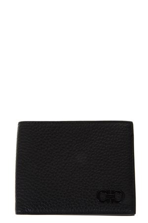 BLACK PEBBLED LEATHER WALLET WITH GANCIO LOGO SS 2018 SALVATORE FERRAGAMO | 34 | 685775FIRENZENERO