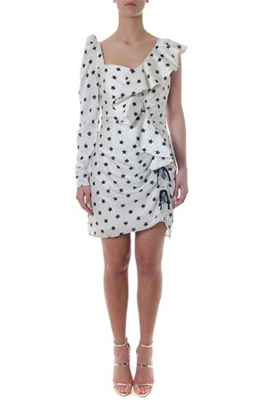 WHITE SHORT DRESS WITH PRINTED STARS AND VOLANT DETAILS