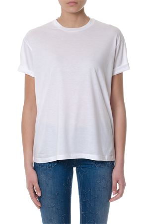 WHITE COTTON T-SHIRT WITH LOGO ON THE BACK SS 2018 STELLA McCARTNEY | 15 | 457142SKW328490