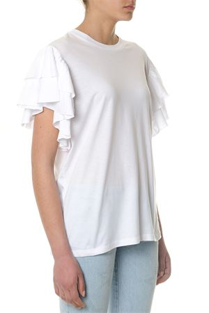 WHITE COTTON T-SHIRT WITH RUFFLE SLEEVES SS 2018 STELLA McCARTNEY | 15 | 516552SKW689000
