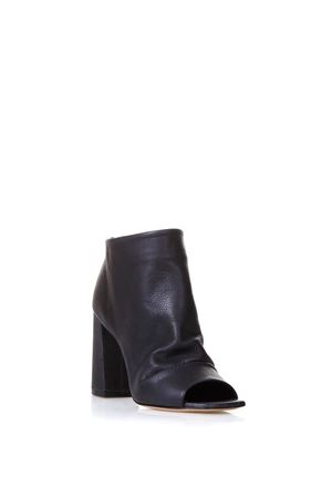 OPEN TOE BLACK LEATHER ANKLE BOOTS SS 2018 STEPHEN GOOD LONDON | 52 | SG4002MOUSSENERO