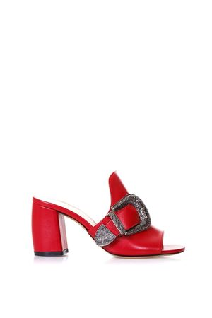 SANDALI IN PELLE ROSSA CON FIBBIA 80MM PE 2018 STEPHEN GOOD LONDON | 87 | SG4032NAPPARED