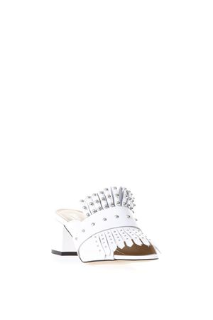 SLIPPERS IN PELLE BIANCA CON BORCHIE PE 2018 STEPHEN GOOD LONDON | 87 | SG4039NAPPABIANCO
