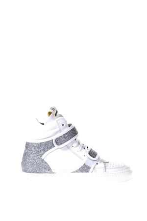 WHITE AND SILVER  GLITTER LEATHER SNEAKERS SS 2018 THoMS NICOLL | 55 | 389GOMMATO/GLITTERBIANCO/ARGENTO