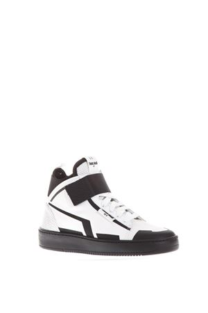 WHITE/BLACK LEATHER RIPPED CLOSURE SNEAKERS SS 2018 THoMS NICOLL | 55 | 434UVARIANTEBIANCO