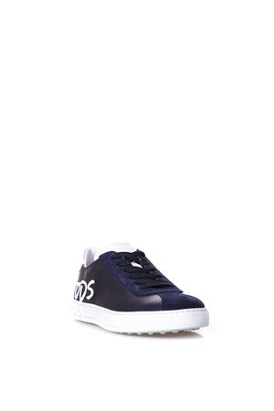 BLU LACED LEATHER SHOES WITH LOGO PATCH SS 2018 TOD
