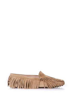 CAMEL SUEDE FRINGED LOAFERS IN LEATHER SS 2018 TOD