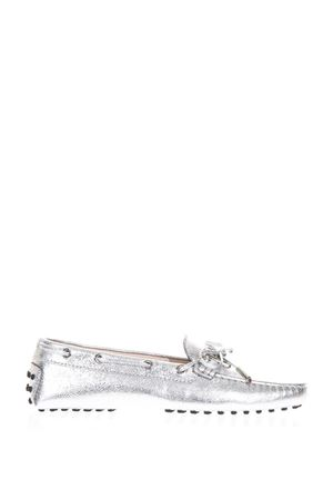 SILVER LEATHER GOMMINO LOAFERS SS 2018 TOD