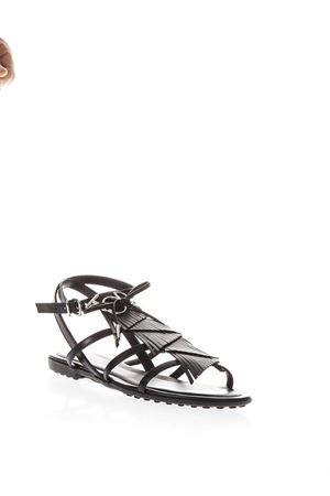 BLACK FRINGED LEATHER SANDALS SS 2018 TOD