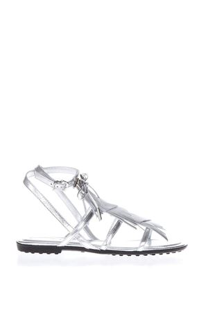 MULTI STRAP SILVER LEATHER SANDALS SS 2018 TOD