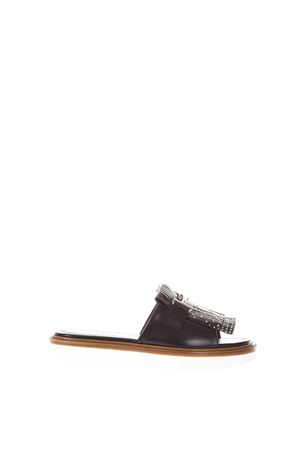 BLACK FRINGES SLIPPER IN LEATHER SS 2018 TOD