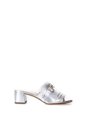 SILVER OPEN FRINGED SANDALS IN LEATHER SS 2018 TOD