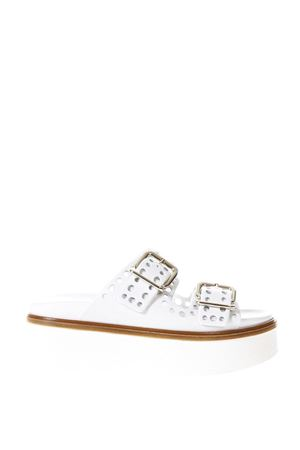 WHITE PERFORATED LEATHER SANDALS SS 2018 TOD