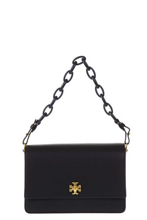 BLACK KIRA DOUBLE STRAP SHOULDER BAG IN LEATHER ss 2018 TORY BURCH | 2 | 45155KIRA SHOULDER 001