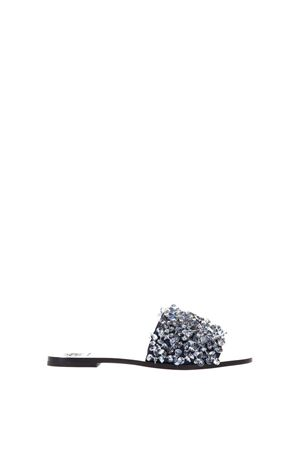 LOGAN GREY LEATHER SLIPPERS WITH PEARLS DETAILS PE 2018 TORY BURCH | 87 | 46249LOGAN SLIDE022