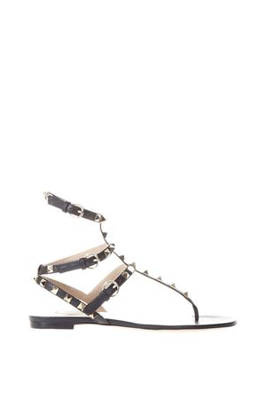 BLACK STUD THONG SANDALS IN LEATHER SS 2018 VALENTINO GARAVANI | 87 | PW0S0812VOD0NO