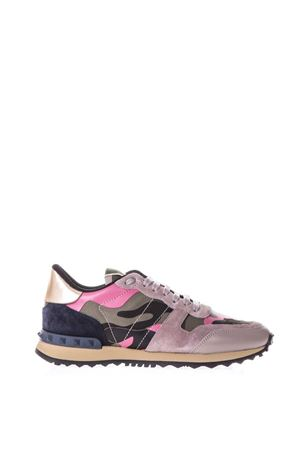 ROCKRUNNER PINK & MULTICOLOURED SUEDE & CANVAS SNEAKERS SS 2018 VALENTINO GARAVANI | 55 | PW2S0291TZP0O6