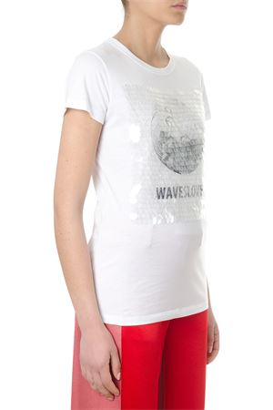 T-SHIRT WAWESOLVER IN COTONE BIANCO CON PAILLETTES PE 2018 VALENTINO | 15 | PB0MG07T3Y70BO