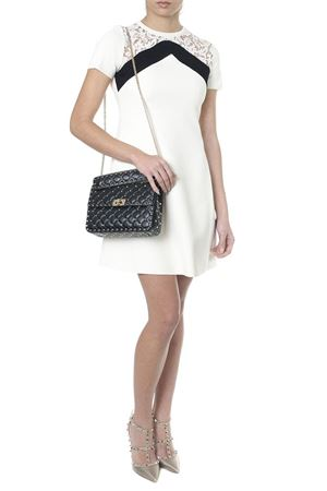WHITE SHORT DRESS WITH LACE INSERT SS18 VALENTINO | 32 | PB3KD0423QQA03