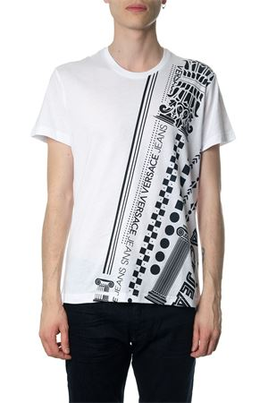 WHITE COTTON T-SHIRT WITH PILLARS PRINT SS 2018 VERSACE JEANS | 16 | GRB77H36590003
