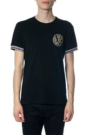 BLACK COTTON T-SHIRT WITH ELASTIC BAND ON SLEEVES SS 2018 VERSACE JEANS | 16 | GRB7S211620899