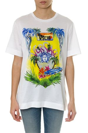 WHITE COTTON T-SHIRT WITH BEVERLY PALM PRINT SS18 VERSACE | 15 | A79096A224838A7017