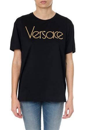 BLACK COTTON T-SHIRT WITH VINTAGE LOGO SS18 VERSACE | 15 | A79798A201952A2003