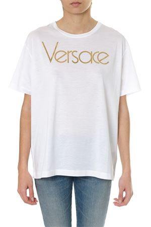 WHITE  COTTON T-SHIRT WITH VINTAGE LOGO SS18 VERSACE | 15 | A79798A201952A2256