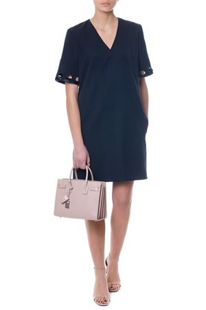 BLUE NAVY WOOL MIDI DRESS WITH CUT OUT DETAILS FW17 VICTORIA VICTORIA BECKHAM | 32 | DRVV531PSS18UNINAVY
