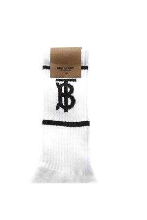 WHITE AND BLACK BLEND COTTON SOCKS WITH LOGO SS 2019 BURBERRY | 5 | 80121081A1464