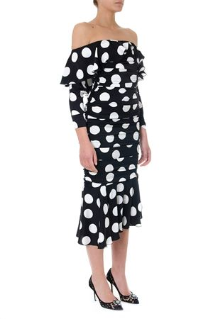 BLACK MIDI DRESS IN POLKA-DOT PRINT SILK WITH RUCHES SS 2019 DOLCE & GABBANA | 32 | F6D5ZTFSAX6HNLDW